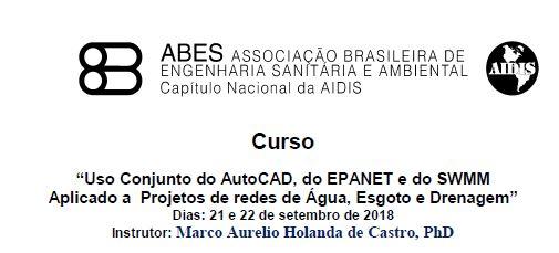 Uso Conjunto do AutoCAD, do EPANET e do SWMM Aplicado a Projetos de redes de Água, Esgoto e Drenagem