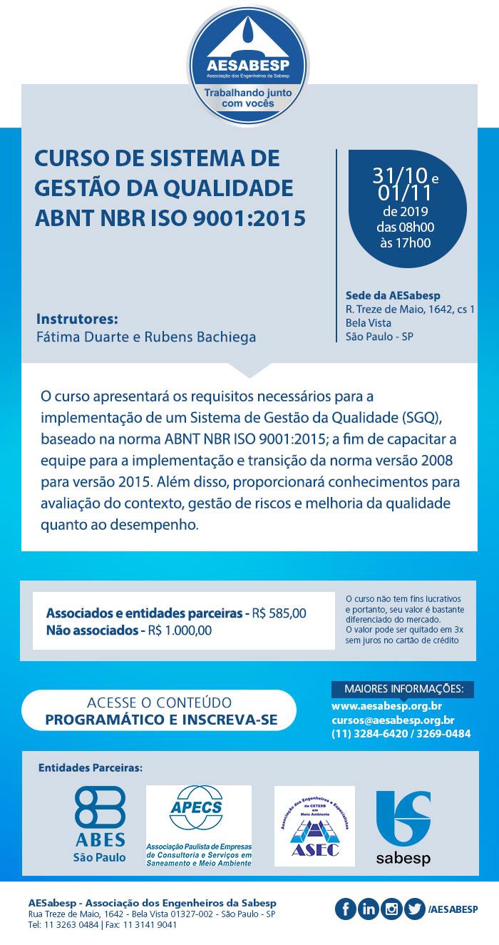 Curso de Sistema de Gestão da Qualidade ABNT NBR ISO 9001:2015