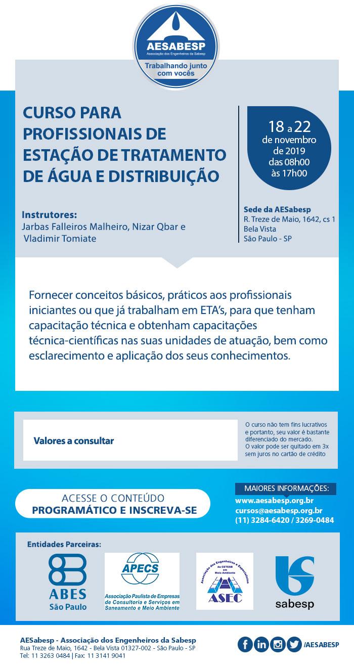 Curso para profissionais de Estação de Tratamento de Água e Distribuição